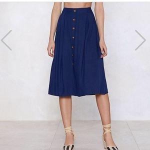 Nasty gal button up skirt navy